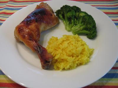 Roasted chicken with orange-mustard marinade, yellow jasmine rice, steamed broccoli