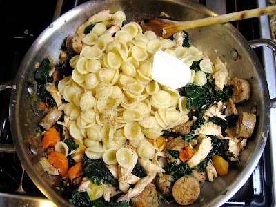 Leftovers: Creamy Orecchiette with Roasted Vegetables, Chicken, and Leafy Greens