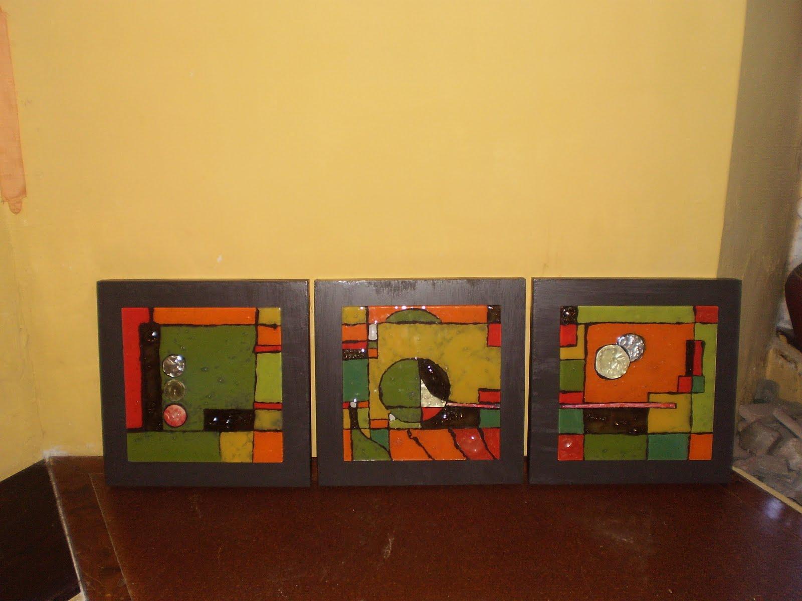 Hora libre arte vitrofusion cuadro triptico - Cuadros de colores ...