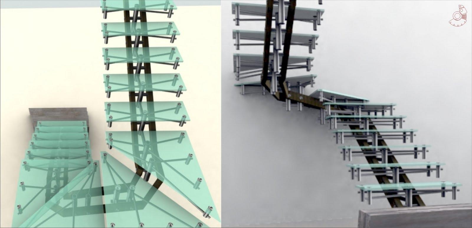 Estructura de escaleras en vidrio templado pictures - Escaleras de cristal templado ...