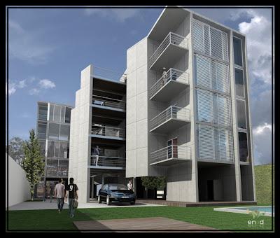 Edificio de viviendas fachada contrafrente for Fachadas de viviendas