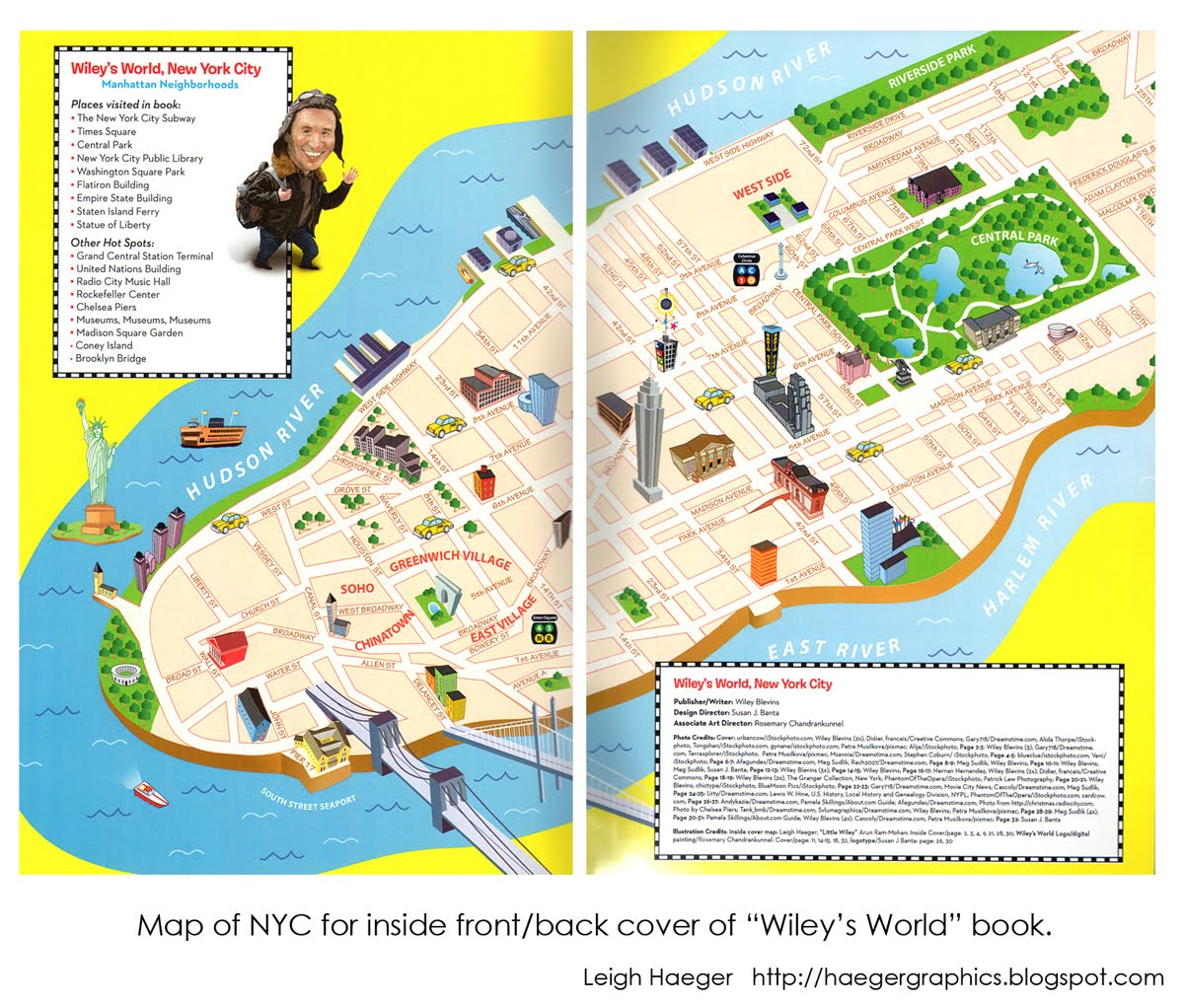 cartoon map of new york city for wiley s world an educational book for school kids