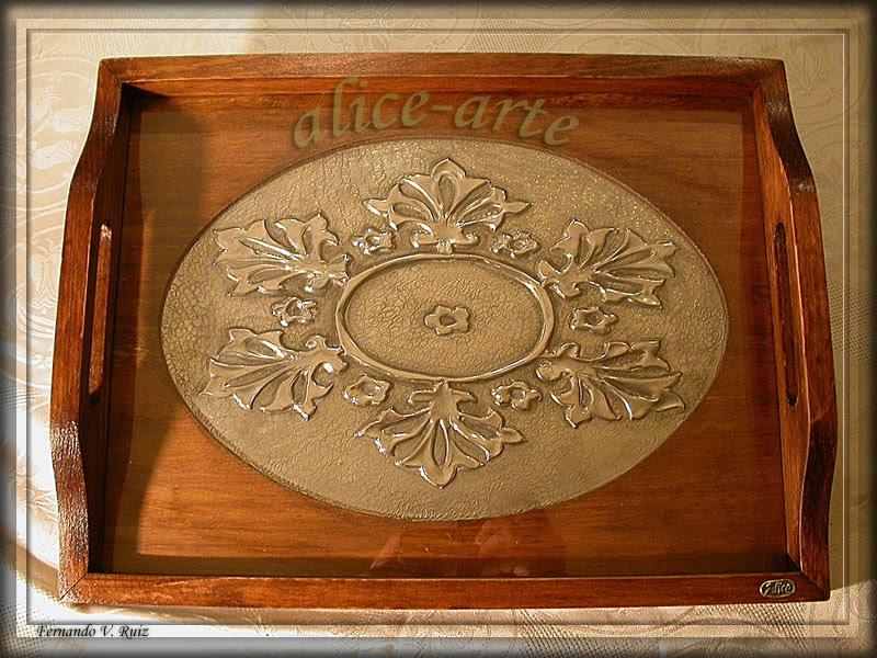Alice arte bandeja de madera - Bandeja de madera ...