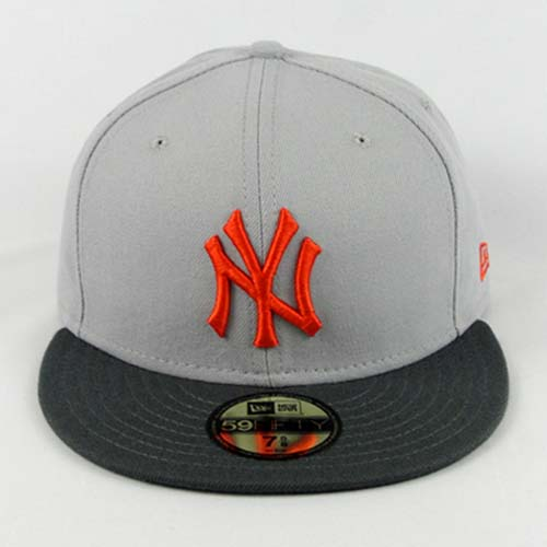 Custom new era fitted hat new york gray dark gray orange 1