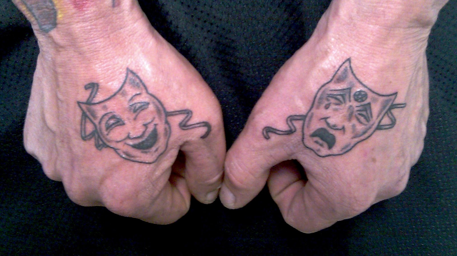 Tattoo Black And Grey Motley Crue Theatre Of Pain Masks On Hands