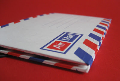 Memo pocket book made from airmail envelopes