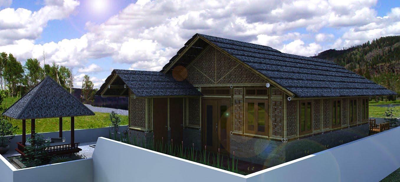 desain rumah bambu media hidup