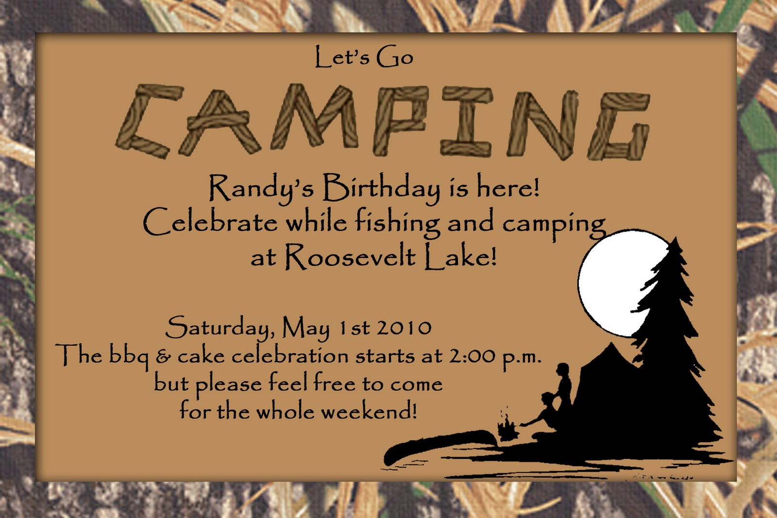 Camping invites for birthdays gallery invitation templates free hunt 4 announcements and invites camo camping birthday invite camo camping birthday invite filmwisefo filmwisefo
