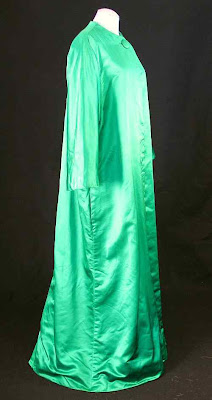 vintage evening coat, Henri Bendel, emerald green silk