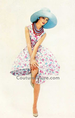 1961, david crystal dress, mr. john hat
