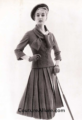 bergdorf pleated suit, 1955