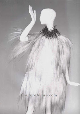 yves st laurent, feather dress, fall/winter 1969-70