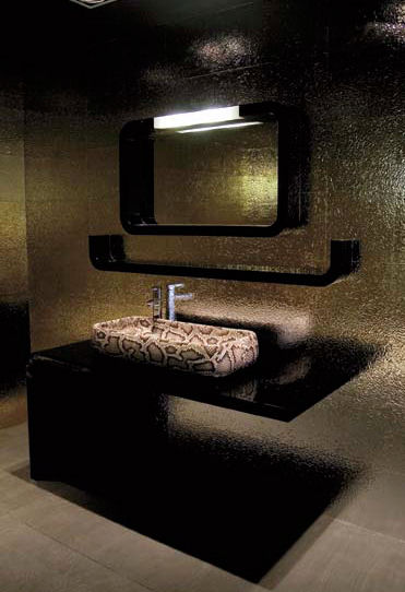 Unique-modern-design-bathroom-with-golden-color-walls-and-futuristic-vanity-shelve-and-mirror