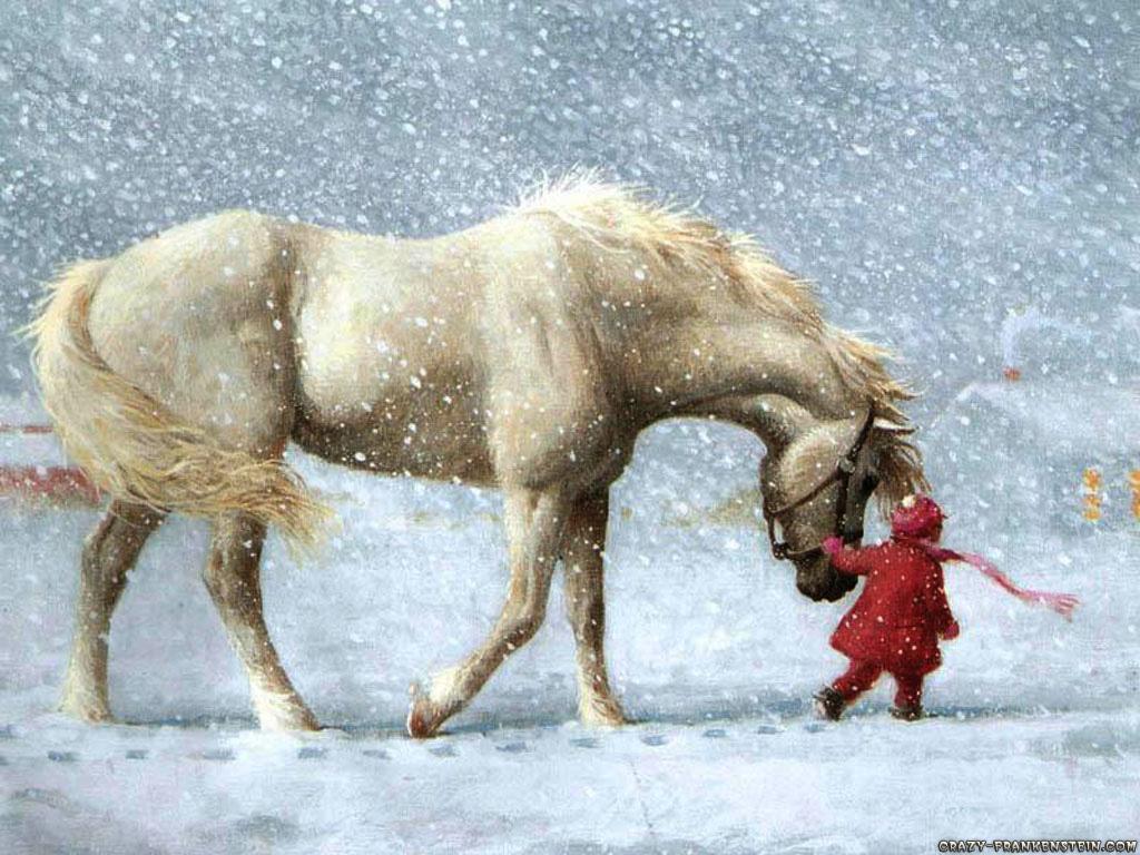 Cool   Wallpaper Horse Watercolor - christmas-scene-horse-theme  HD_85837.jpg