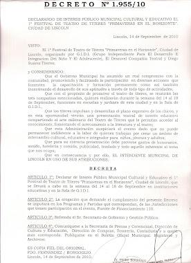 Declarado de interes público, municipal,cultural y educativo