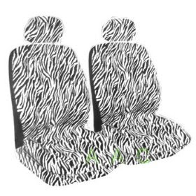 Set of 2 Universal Fit Zebra Print Front Bucket Seat Cover
