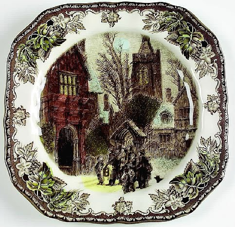 The Friendly Village Christmas accent salad plates by Johnson Brothers & vignette design: Setting the Table with Christmas Dinnerware