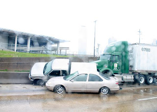 Dallas, TX: Traffic accident on rainy highway
