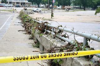 After the Flood: Debris on Bridge in Gruene TX, Jun 9, 2010