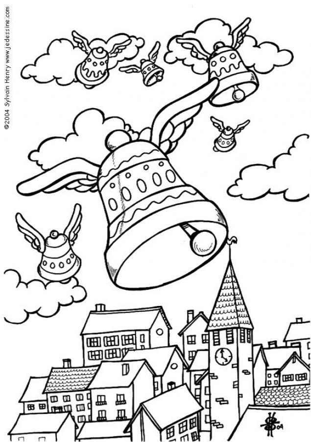 coloriage cloche de paques - Coloriage cloches de pâques Vive Paques