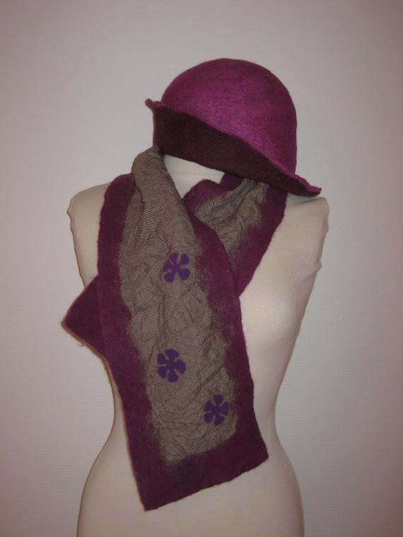 Echarpe (feutre sur tissu) et chapeau