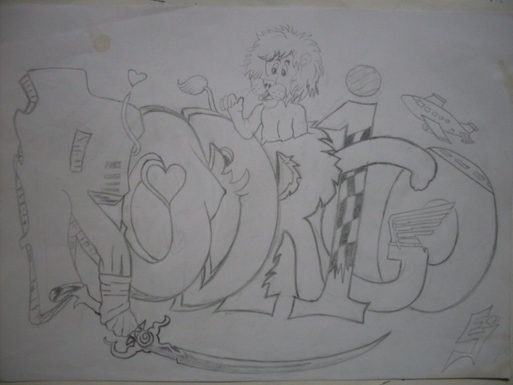 Creando dibujando creando el nombre rodrigo for Graffitis para ninos