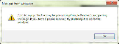 Grrr! A popup blocker may be preventing Google Reader from opening the page. If you have a popup blocker try disabling it to open the window.