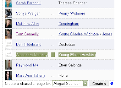 Thanks to Hugues and others for the heads up that IMDB have now confirmed that Ellie was i Eloise Hawking