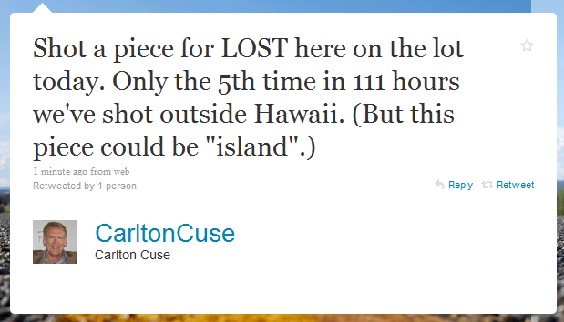 Little Snippet from Carlton Cuse - Twitter
