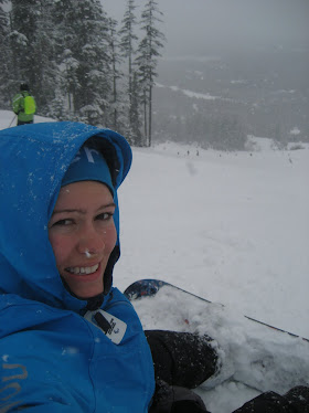 Snow Boarding at Whistler Mountain, during the Paralympic Games, in my Smurf Jacket.