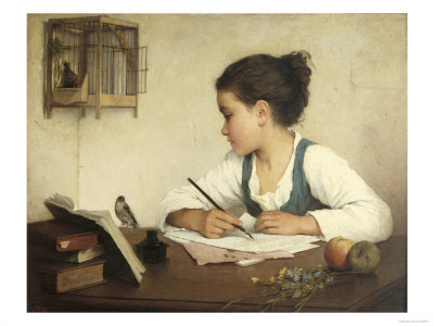 Young Girl Writing at Her Desk by Henriette Browne
