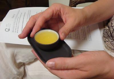 Sampling a drop of Chinese tea