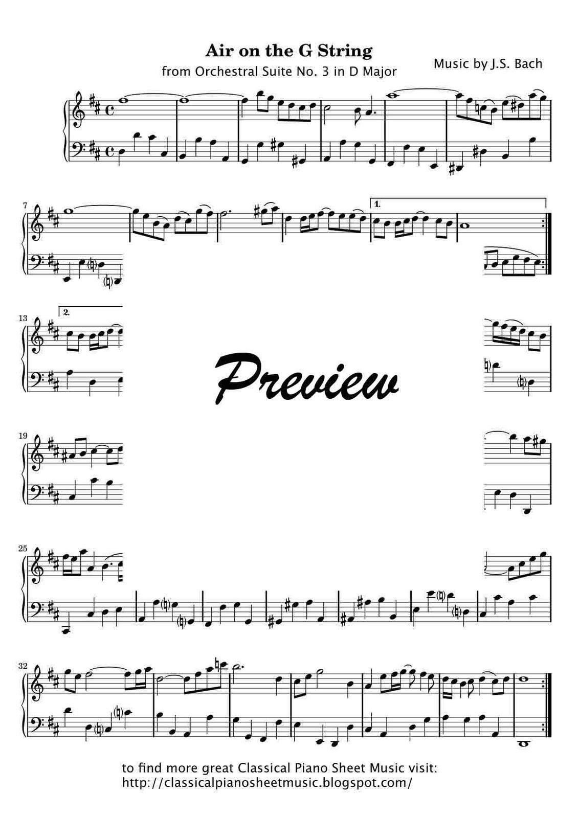 bach air on the g string piano sheet music pdf