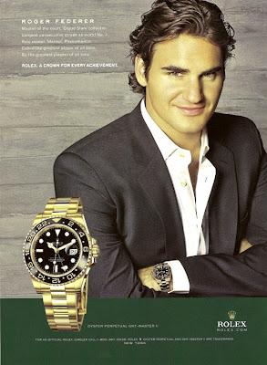 J 39 aime les montres la derni re pub rolex avec roger federer for Celebrity watches male 2017