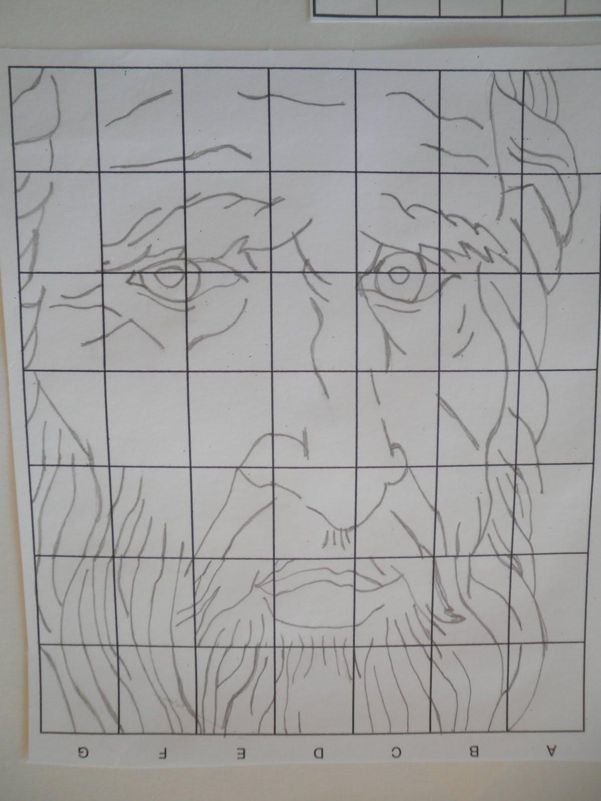 Drawing Using Grid Lines : Teaching art grid drawing