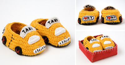 Hand Crocheted New York City Taxi Booties