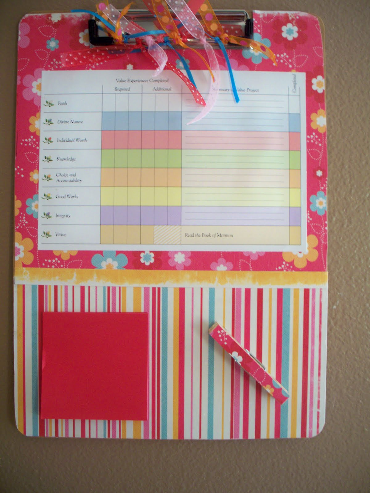 Yw scrapbook paper - Yw Personal Progress Tracker