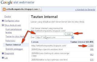 Melihat Backlink Blog Dari Webtool Google