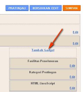Menambah gadget untuk tukaran link (backlink) di sidebar