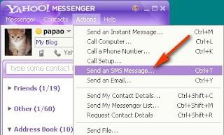 kirim sms dari Yahoo messenger
