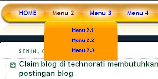 menu dropdown, menu horisontal