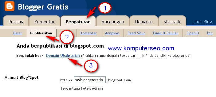 Setting domain co.cc di blogspot