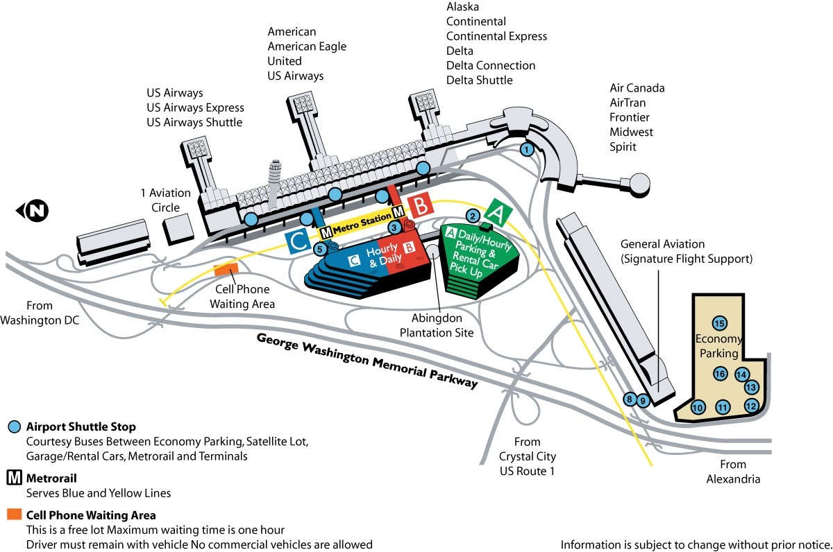 national airport parking map