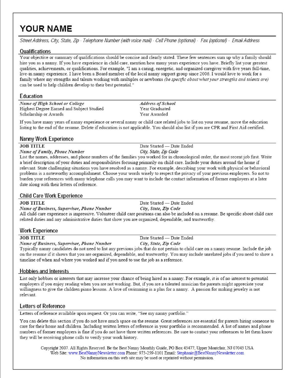 nanny job on a resume professional resume templates