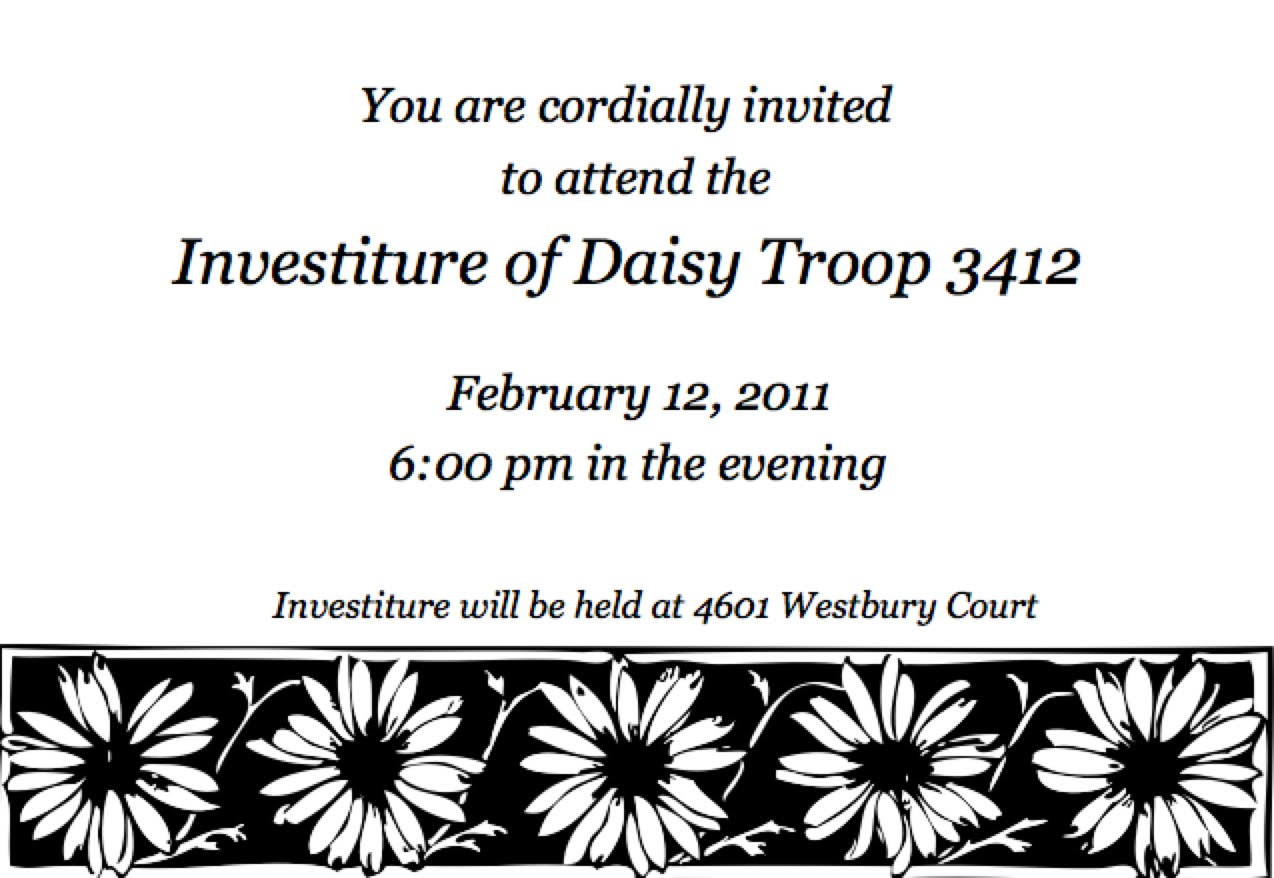 Girl Scout Daisy Investiture Ceremony Invitation images