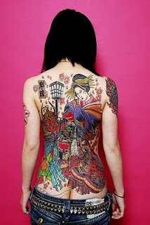 Girl With Japanese Tattoo Design
