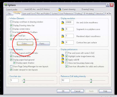 This Will Bring Us To The Drawing WIndow Colors Menu Where We Can Actually Change Display Of Almost Anything In AutoCAD