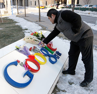 Photograph: Laying a tribute to those who cannot use Google in China - from wired.com