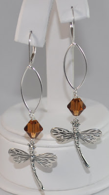 Sterling Silver Signature Dragonfly Earrings - Smoked Topaz Swarovski  Rock Candy Miami