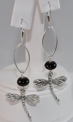 Sterling Silver Signature Dragonfly Earrings - Black Obsidian